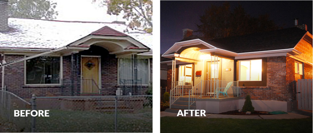 Before run down home and after remodeled home